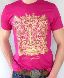 Herren T-Shirt Fuksia mit Gold - Ernst Fuchs Motiv