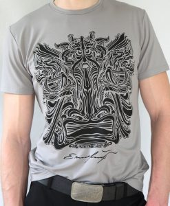 Herren T-Shirt Grau mit Schwarz - Ernst Fuchs Motiv
