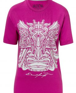 T-Shirt lila grau fuchs