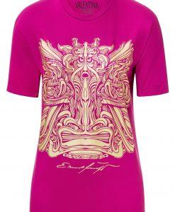 Damen T-Shirt Fuksia mit Gold - Ernst Fuchs Motiv