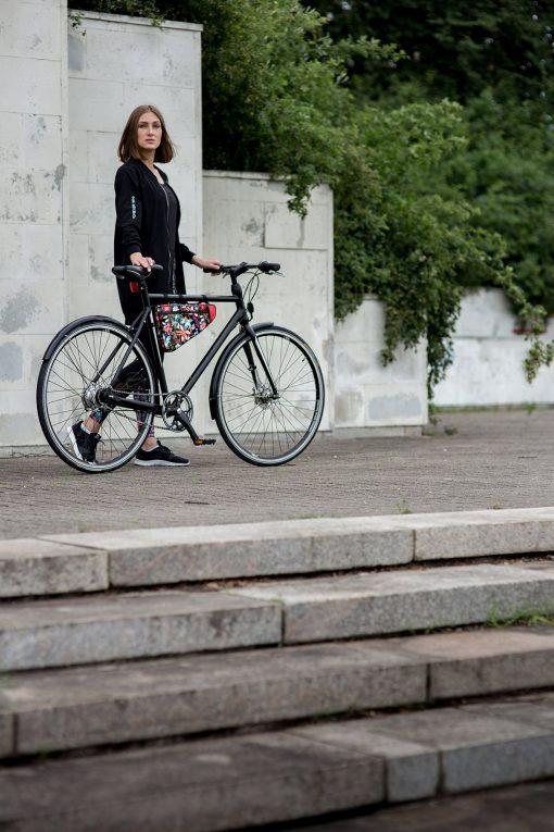 Fahrradtasche gross, schwarz-bunt - Valentina Design